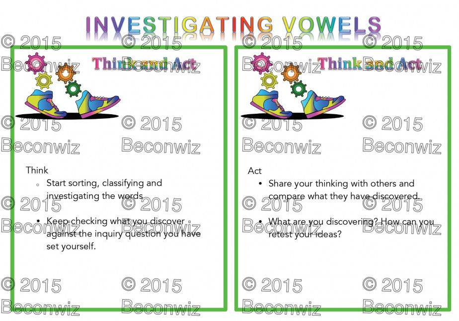 vowels, inquiry process, think and act