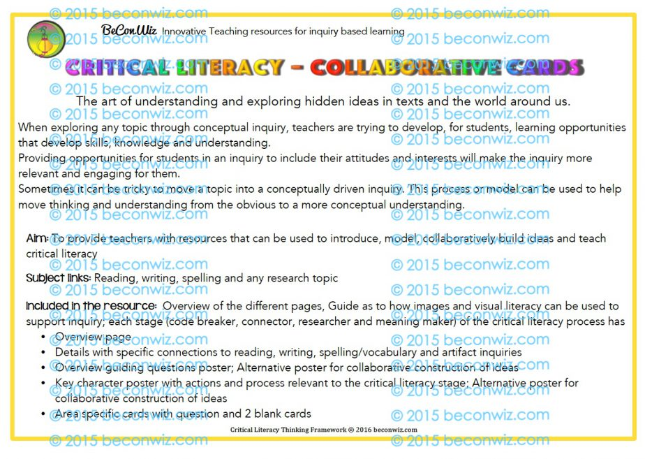Critical Literacy - Collaborative cards