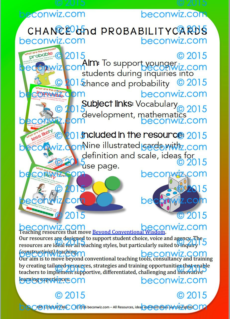 CHANCE and PROBABILITY CARDS