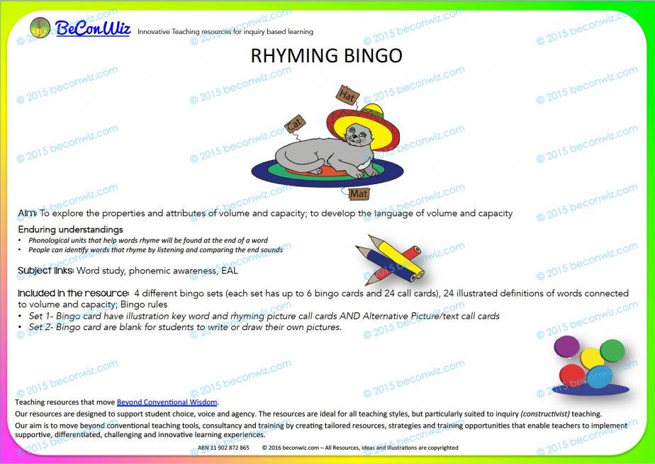 Bingo Rhyming Words
