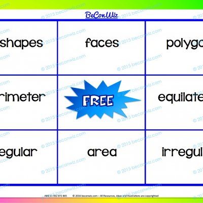 Shape and Space Attributes Bingo