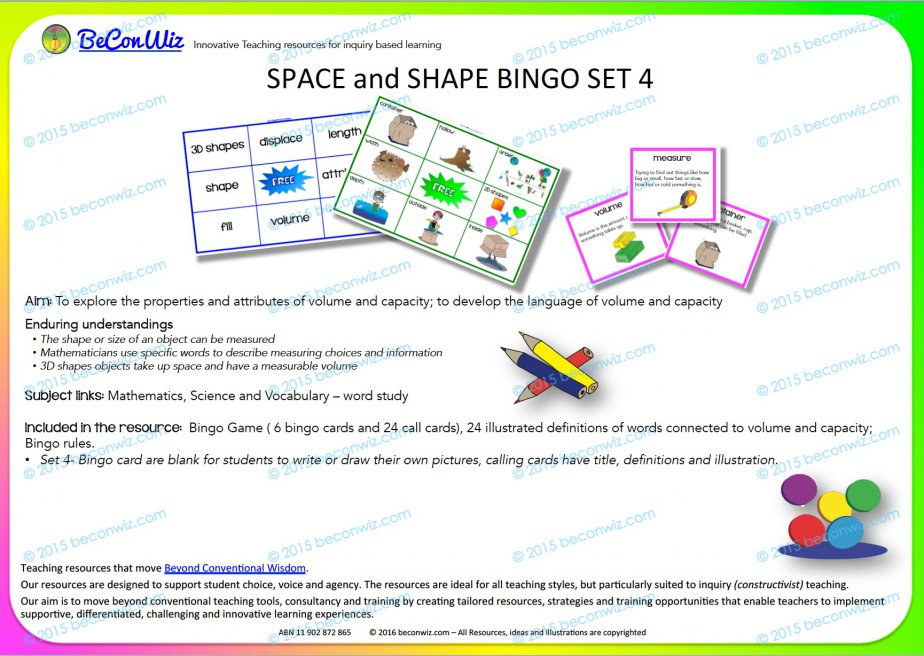 Shape Attributes Bingo