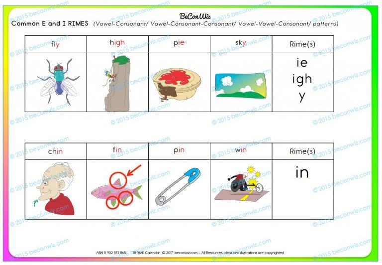 calendar routine rhyming words