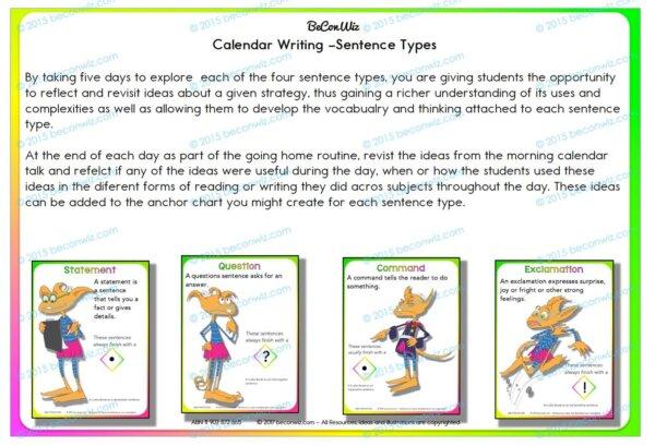 Sentence Types – Calendar routine