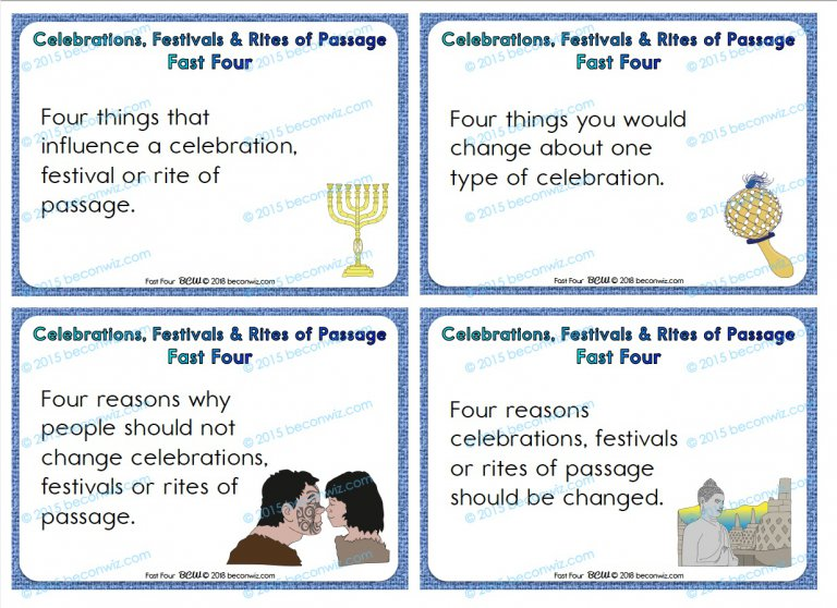 Celebrations, Festivals and Rites of Passage – Fast Four
