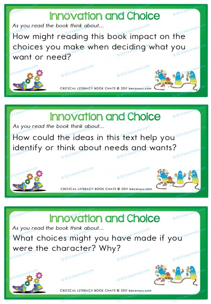 Needs and Wants book chat cards, Book Chats for students - Needs and Wants