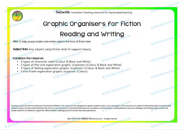 Graphic Organisers For Fiction Reading And Writing