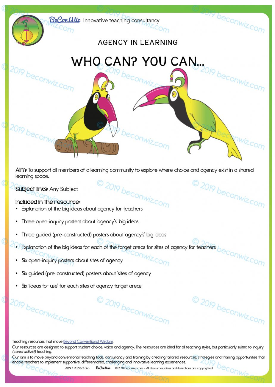 AGENCY IN LEARNING - WHO CAN? YOU CAN... POSTERS