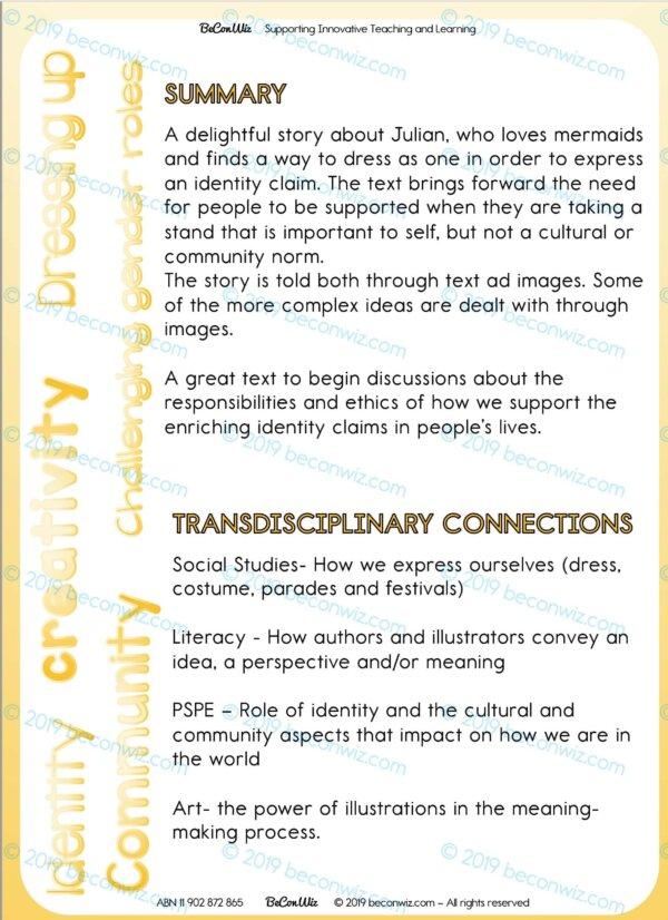 READING ACTIVITIES – JULIAN IS A MERMAID